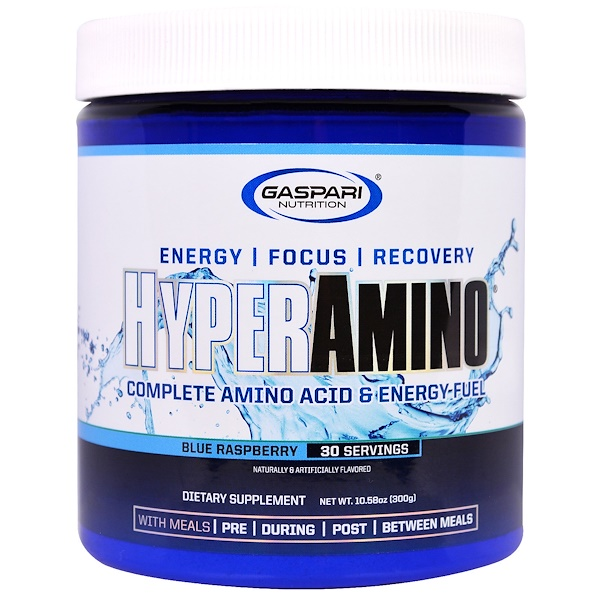 Gaspari Nutrition, HyperAmino, Complete Amino Acid & Energy-Fuel, Blue Raspberry, 10.58 oz (300 g)