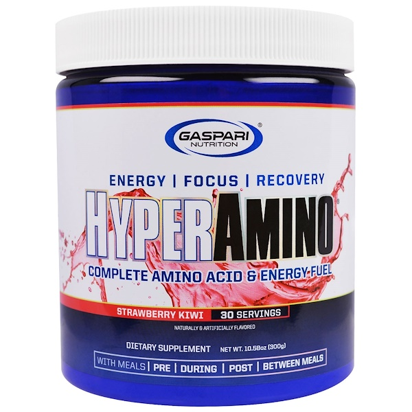 :Gaspari Nutrition, HyperAmino, Strawberry Kiwi, 10、58 oz (300 g)
