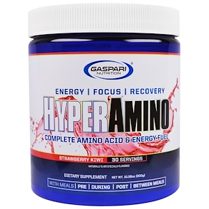 Гаспари Нутришэн, HYPERAMINO, Complete Amino Acid & Energy Fuel, Strawberry Kiwi, 10.58 oz (300 g) отзывы покупателей