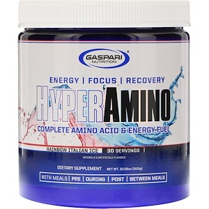 Гаспари Нутришэн, HYPERAMINO, Complete Amino Acid & Energy Fuel, Rainbow Italian Ice, 10.58 oz (300 g) отзывы