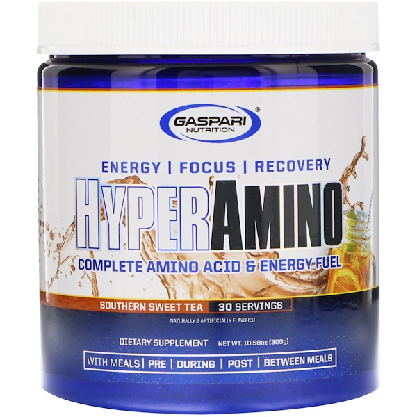 Gaspari Nutrition, HYPERAMINO, Complete Amino Acid & Energy Fuel, Southern Sweet Tea, 10.58 oz (300 g) (Discontinued Item)