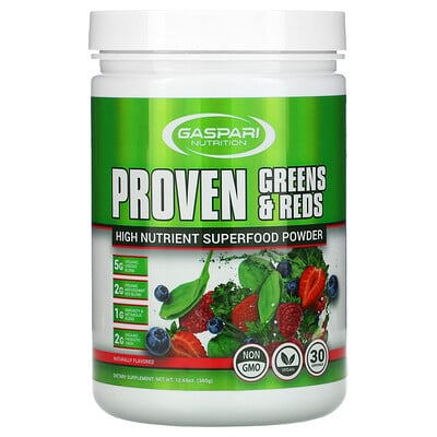 Gaspari Nutrition Proven Greens & Reds, High Nutrient Superfood Powder, Naturally Flavored, 12.69 oz (360 g)
