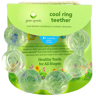 Green Sprouts, Cooling Ring Teether, 6+ Months, Clear, 1 Teether