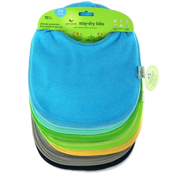 防水围嘴,适用于 3-12 个月婴幼儿,湖绿色,10 件