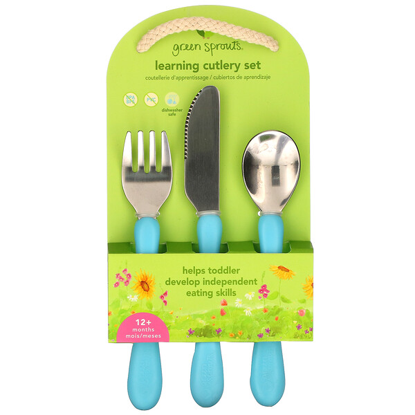 Green Sprouts, Learning Cutlery Set, 12+ Months, Aqua, 1 Set
