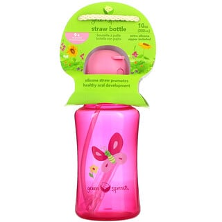 Green Sprouts, Straw Bottle, 9+ Months, Pink, 10 oz (300 ml)