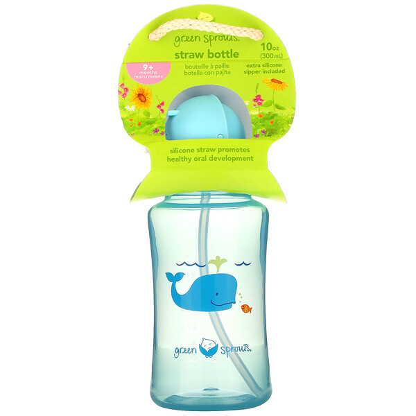 Green Sprouts, Straw Bottle, 9+ Months, Aqua, 1 Count, 10 oz (300 ml)