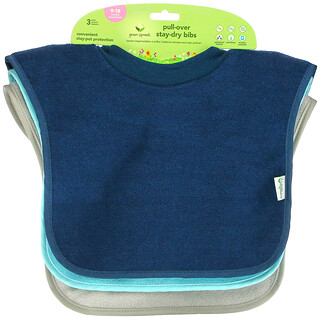 Green Sprouts, Pull-Over Stay-Dry Bibs, 9-18 Months, Blue, Aqua and Gray, 3 Pack