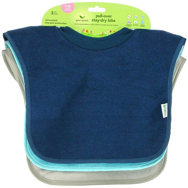 Pull-Over Stay-Dry Bibs, 9-18 Months, Blue, Aqua and Gray, 3 Pack