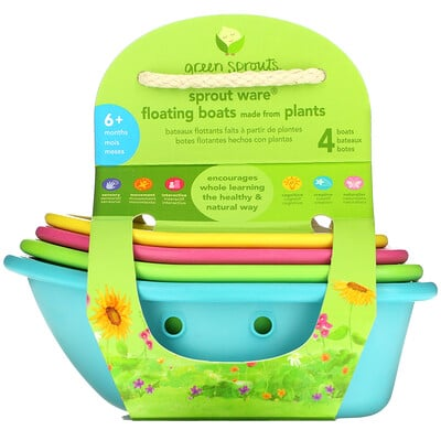 Green Sprouts Sprout Ware Floating Boats, 6+ Months, Multicolor, 4 Count  - купить со скидкой
