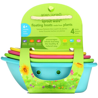 Green Sprouts, Sprout Ware Floating Boats,  6+ Months, Multicolor, 4 Count
