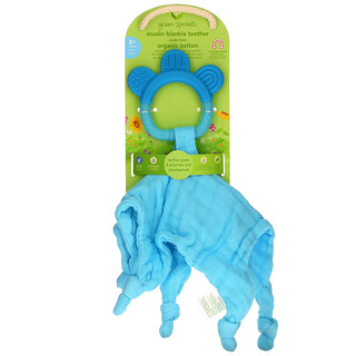 Green Sprouts, Muslin Blankie Teether, 3+ Months, Aqua, 1 Count