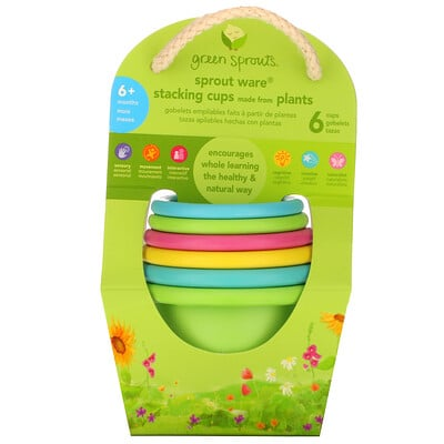 Green Sprouts Sprout Ware Stacking Cups, 6+ Months, Multicolor, 6 Cups