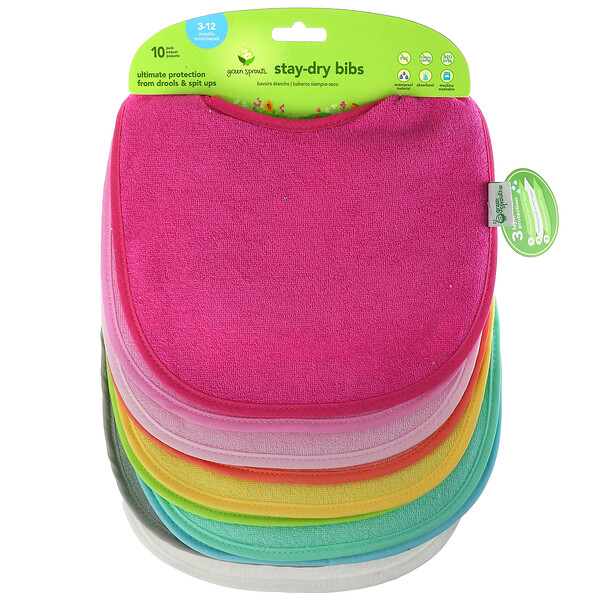 Green Sprouts, Stay Dry Infant Bibs, Pink, 10 Pack