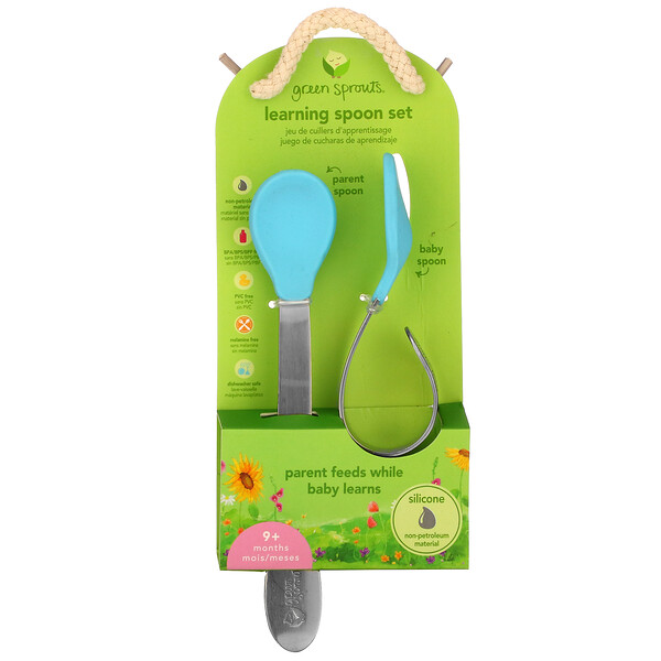 Green Sprouts, Learning  Spoon Set, 9+ Months, Aqua, 1 Set