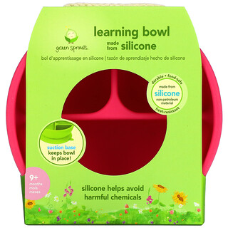 Green Sprouts, Learning Bowl, 9+ Months, Pink, 1 Bowl