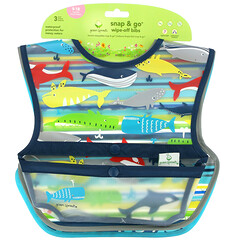 Green Sprouts, Snap & Go Wipe Off Bibs, 9-18 Months, Blue Whales, 3 Pack