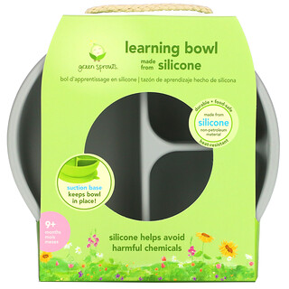 Green Sprouts, Learning Bowl, 9+ Months, Gray, 1 Bowl