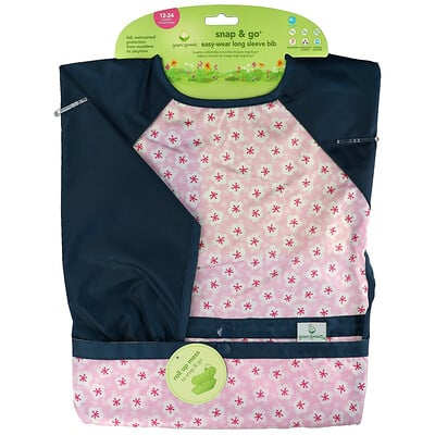 Купить Green Sprouts Snap & Go Easy Wear Long Sleeve Bib, 12-24 Months, Pink Blossom, 1 Count