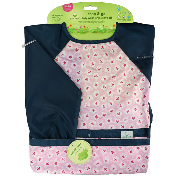 Snap & Go Easy Wear Long Sleeve Bib, 12-24 Months, Pink Blossom, 1 Count