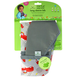 Green Sprouts, Snap & Go Easy Wear Long Sleeve Bib, 12-24 Months, Gray Firetruck, 1 Count