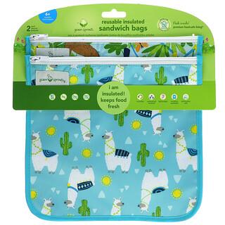 Green Sprouts, 可重用隔热保鲜袋,6 个月以上,Aqua Llamas,2 包