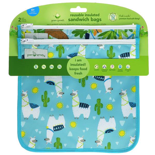 Reusable Insulated Sandwich Bags, 6+ Months, Aqua Llamas,  2 Pack