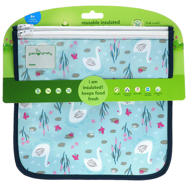 Reusable Insulated Sandwich Bags, 6+ Month, Aqua Swan, 2 Pack