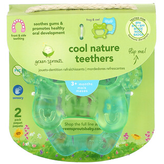 Green Sprouts, Cool Nature Teethers, 3+ Months, Green, Aqua, 2 Pack
