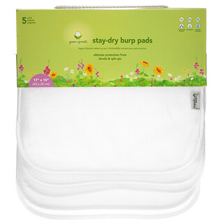 Green Sprouts, Stay-Dry Burp Pads, White, 5 Pack