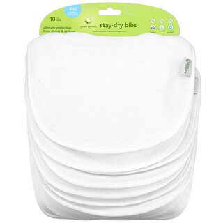 Green Sprouts, Stay Dry Bibs, 3-12 Months, White, 10 Pack