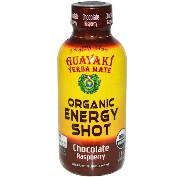 Guayaki, Йерба мате, органический заряд энергии, малина и шоколад, 2 жидк. унц. (59 мл) (Discontinued Item)