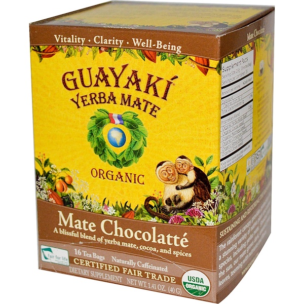 Guayaki, Organic  Mate Chocolatté, 16 Tea Bags, 1.41 oz (40 g) (Discontinued Item)