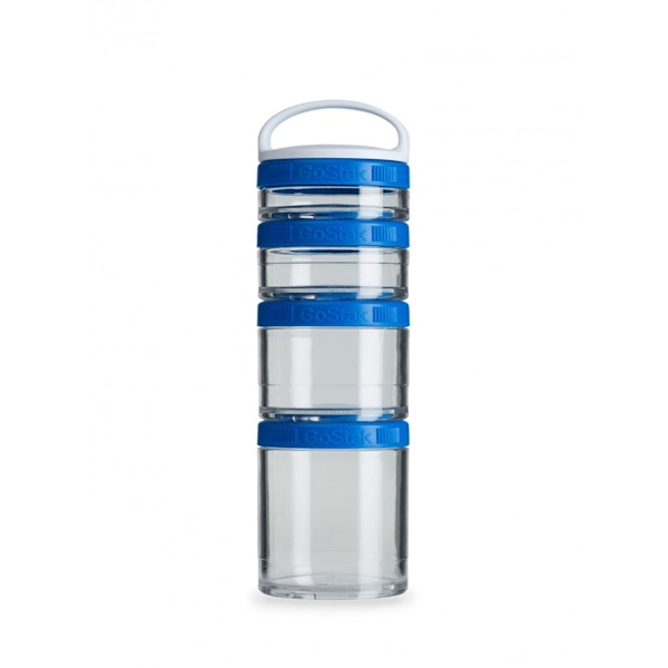 GoStak, Portable Stackable Containers, Blue, Starter  4 Pack (Discontinued Item)