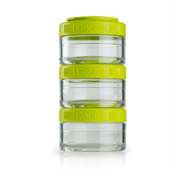 GoStak, Portable Stackable Containers, Green, 3 Pack, 60 cc Each (Discontinued Item)