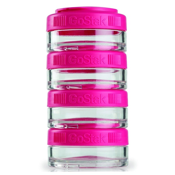 GoStak, Portable Stackable Containers, Pink, 4 Pack, 40 cc Each (Discontinued Item)