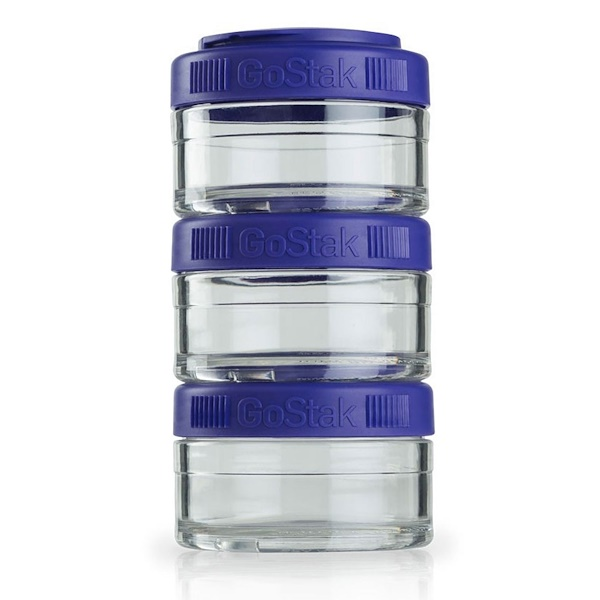 GoStak, Portable Stackable Containers, Purple, 3 Pack, 60 cc Each (Discontinued Item)