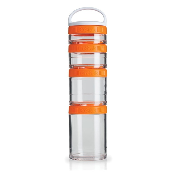 GoStak, Portable Stackable Containers, Orange, Starter 4 Pack (Discontinued Item)