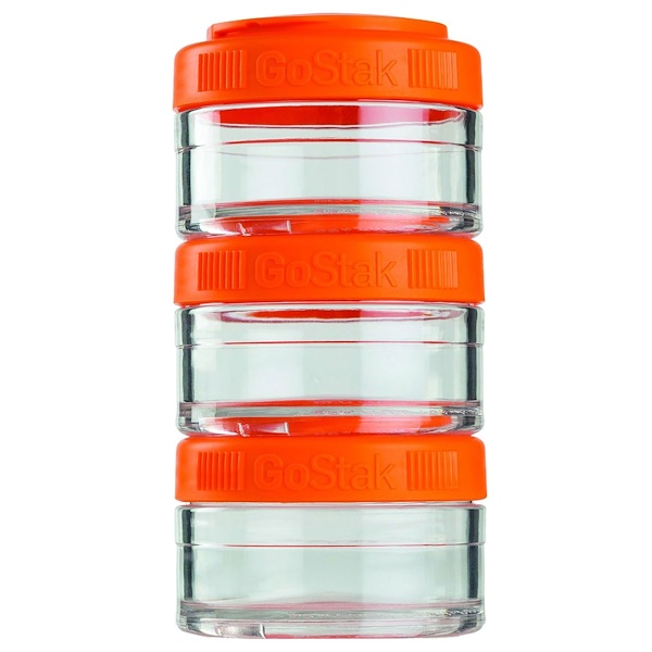 GoStak, Portable Stackable Containers, Orange, 3 Pack, 60 cc Each (Discontinued Item)