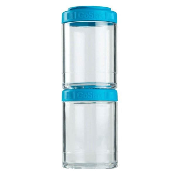 GoStak, Portable Stackable Containers, Aqua, 2 Pack, 150 cc Each (Discontinued Item)