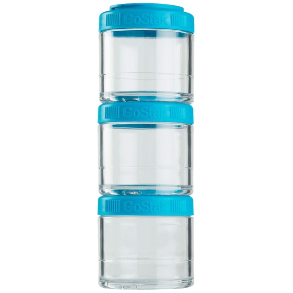 GoStak, Portable Stackable Containers, Aqua, 3 Pack, 100 cc Each (Discontinued Item)
