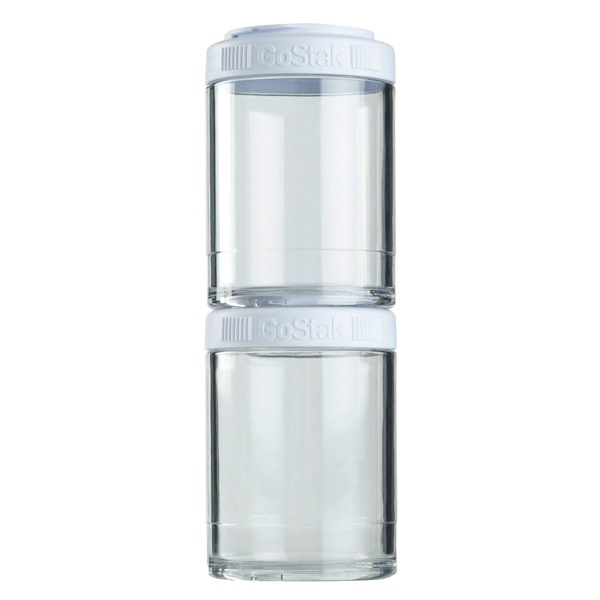 GoStak, Portable Stackable Containers, White, 2 Pack, 150 cc Each (Discontinued Item)