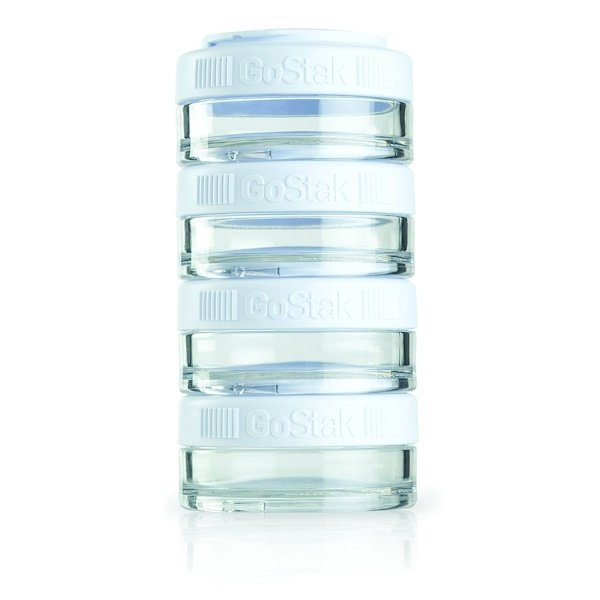 GoStak, Portable Stackable Containers, White, 4 Pack, 40 cc Each (Discontinued Item)