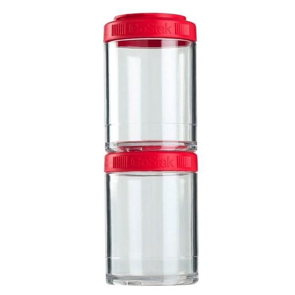 GoStak, Portable Stackable Containers, Red, 2 Pack, 150 cc Each (Discontinued Item)