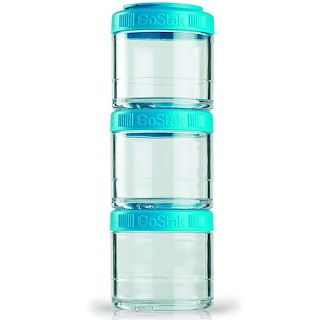 GoStak, Portable Stackable Containers, Teal, 3 Pack, 100 cc Each