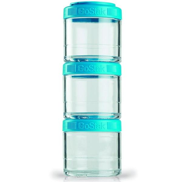 GoStak, Портативные штабелируемые контейнеры, сине-зелёный цвет, 3 шт., 100 мл каждый (Discontinued Item)