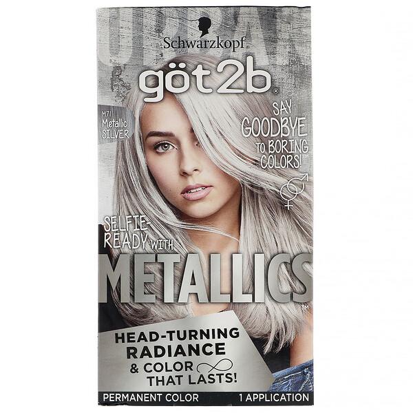 got2b, Metallics, стойкая краска для волос, оттенок M71 «Серебристый металлик», на 1применение (Discontinued Item)