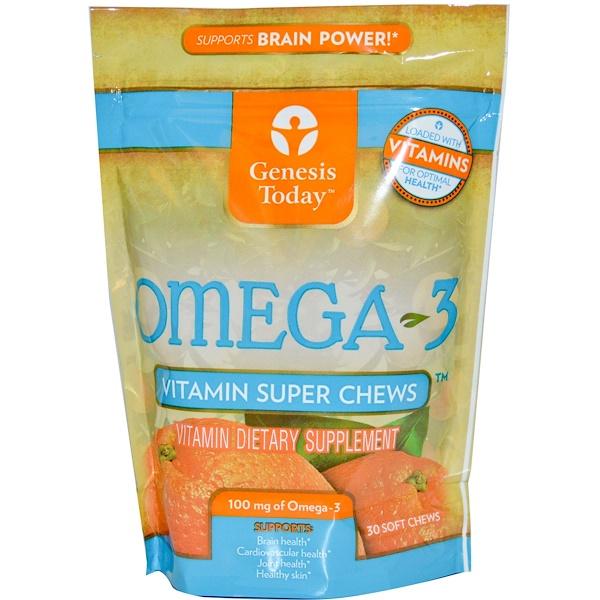 Genesis Today, Omega-3, Vitamin Super Chews, 30 Soft Chews (Discontinued Item)