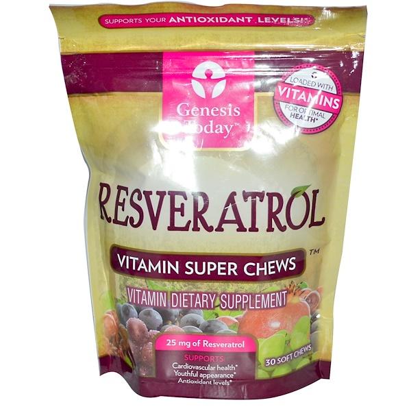 Genesis Today, Resveratrol, Vitamin Super Chews, 25 mg, 30 Soft Chews (Discontinued Item)