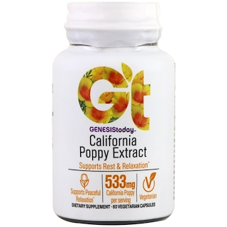 Genesis Today, California Poppy Extract, 60 Vegetarian Capsules